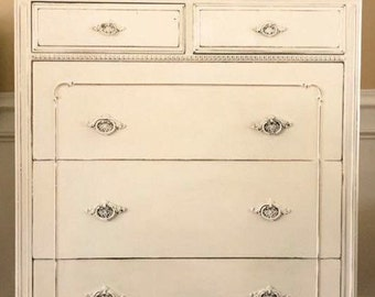 SOLD Vintage Tallboy Dresser Hand Painted Old Barn Milk Paint French Linen Pick up Only