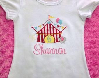 Girls Circus Tent Shirt, Applique Circus Tent and Elephant Shirt, Girl Tops, Elephant Shirt