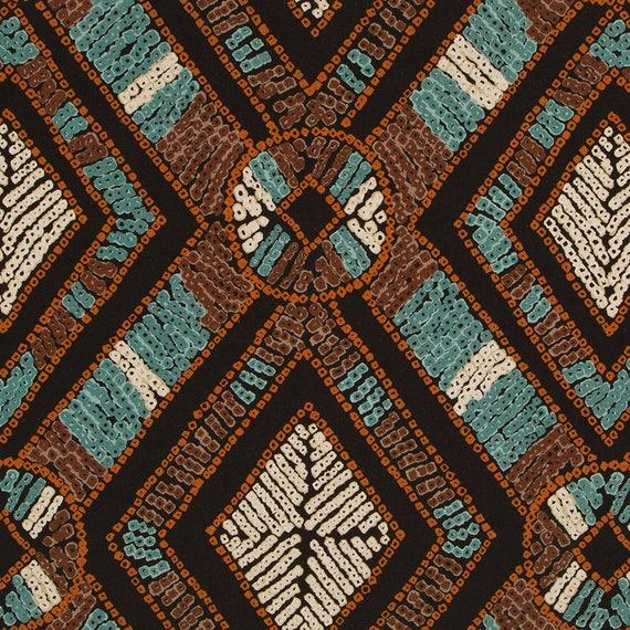 Aqua Blue Brown Upholstery Fabric Modern Copper and Aqua
