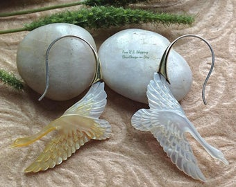 """Tribal Hanging Earrings, """"Flight"""" Swan Design, Natural, Mother of Pearl, Brass Hooks, Sterling Posts, Handcrafted"""