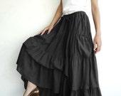 NO.42 Black Cotton Maxi Skirt, Peasant Skirt  (2 Options skirt)
