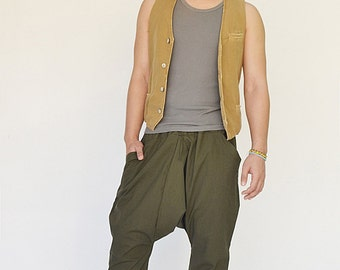 NO.207 Olive Cotton Casual Harem Pants, Drop Crotch Drawstring Trousers, Unisex Pants