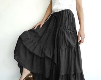 NO.42 Black Cotton Maxi Skirt, Peasant Skirt  (2 Options skirt)