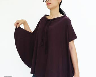 NO.196 Plum Cotton Jersey Boat Neck Tee, Asymmetric Loose T-Shirt, Women's Top