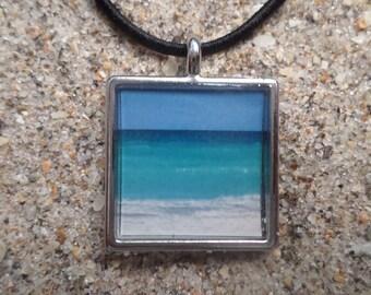 beach photo resin necklace