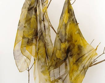 Elegant handpainted silk chiffon scarf, elephant gold and grey. Silk shawl. gift for her.180x45cm.