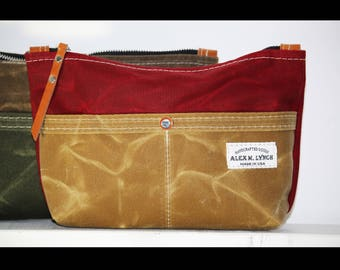 Zippered heavy canvas pouch with front pockets and leather accents by AlexMLynch - made in USA
