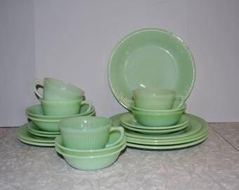 Fire King Jadeite Dinnerware Set ~ 21 piece set ~ Jane Ray Jadeite ~ Vintage Dinnerware Set ~ Mint Green ~ Epsteam