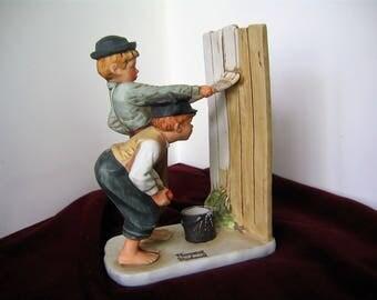 "NORMAN ROCKWELL ""Whitewash"" Limited Edition Vintage Porcelain Figurine 1976 The Adventures of Tom Sawyer Dave Grossman Designs Statue"