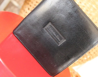 Vintage Leather Square Men's Christian DIOR Wallet, Gift for Father's Day For,Everyday Carry,BLACK distressed Leather Wallet, Man Gift