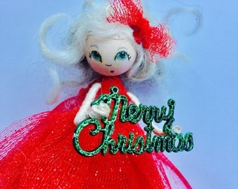 Whimsy Christmas Wood Doll Ornament