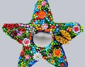 Mosaic Mirror, Star Art, Wall Art, Garden Wall Decor, Mosaic Star Mirror, Mosaic Mirror, Decorative Mirror