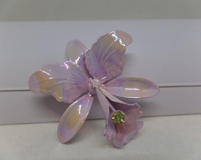 Lovely Vintage Lavender Enamel Orchid Brooch