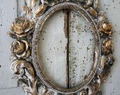 Ornate picture frame roses w/ leaves wall hanging gray w/ white distressed French shabby farmhouse gold accent home decor anita spero design