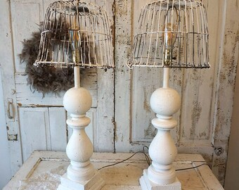 Wooden baluster table lamps French farmhouse distressed wood base w/ recycled rusty basket lampshade lighting home decor anita spero design