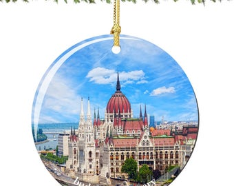 Budapest Christmas Ornament with Hungary Parliament in Porcelain