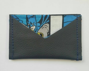 Leather card case with comic lining: Batman