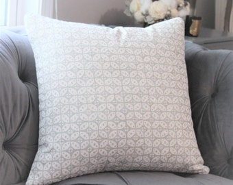 Light Gray and Off White Pillow - Silver Grey Printed Geometric Pillow Cover - Designer Grey Pillow - Gray Home Decor -