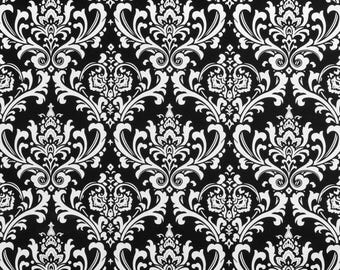 SUMMER SALE! Curtains, Designer Curtain Panels 24W or 50W x 63, 84, 90, 96 or 108L Ozbourne Damask Black White Collection shown
