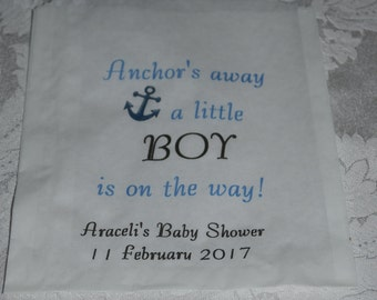 25 Anchor's Away Baby Shower Candy Bags/Treat Baby Shower Favor Bags/Shower Bags/Candy Bags/Candy Buffet Bag/Baby Shower Party Bag