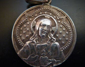 Antique French Religious medal  Sacred heart of Jesus and grotto of Lourdes Pendant old charm jewelry AV1