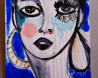 Portrait Femme Visage Femme Peinture Originale Art Contemporain Céline Marcoz Peinture Visage Art Décoration Maison Portrait