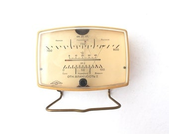 Soviet barometer Soviet thermometer Vintage weather station Soviet weather station Vintage barometer Weather forecast meter
