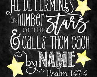 Scripture Art  - Psalm 147:4 (square format) ~ Chalkboard Style