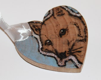 Pyrography Wood Burning -  Arctic Fox Love Token - Pastel Blue - Wooden Heart Gift