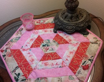 Valentines/candle mat/Holiday decor