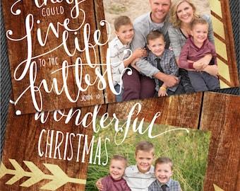 Wood and Arrows Christmas Card, Tribal Christmas Card, Aztec Christmas Card, Religious Christmas Card, Foil Christmas Card