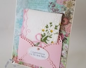 New Mother Hankie Card Mom Mother's Day Card Vintage Embroidered Handkerchief Daisies Keepsake Gift Hanky Accessory