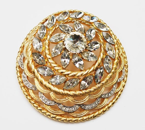 Alice Caviness Rhinestone Brooch - Domed - ClearFlower Rhinestone pin - Designer Signed