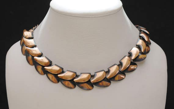 Copper link Necklace - modernistic leaf -  Mid century Mod