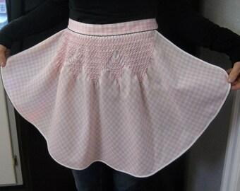 Vintage Half Apron, Pink Gingham, 1950's Retro Style Apron, Pleated Apron, Smocked Apron
