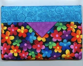 Aqua with Rainbow Flowers Snap Bag