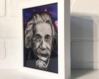 "Albert Einstein, Portrait - 5""x7"" Framed Art Print by Jamie Rice, Pop Culture, Desk Art, Metaphysical, Fan Art, Science, Gift,"