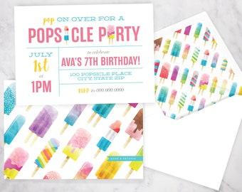 Popsicle Party Birthday Invitation, Ice Pop Birthday Party, Summer Birthday Party, Rocket Pop, Lined Envelopes