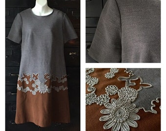 Vintage • Dress • Edith Flagg • Gray and Brown