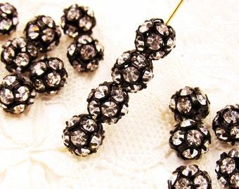 8mm Czech Black Patina & Clear Crystal Rhinestone Ball Beads - 4