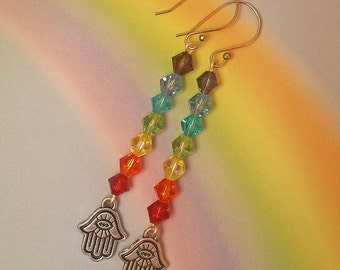 Czech Glass Faceted Crystals, 7 Chakra, Hamsa Hand Earrings, Pierced Ear Wires, Long, Gypsy, Zen