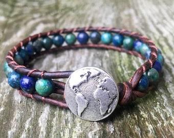 ON SALE blue chrysocolla beaded leather wrap bracelet globe worke travel wanderlust for throat chakra teal aqua unisex men women