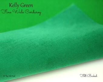 Kelly Green Corduroy // Robert Kaufman Fabric Felt // Felt Backed Fabric // 21 Wale Corduroy //Fine Wale Corduroy // Baby Wale Cord