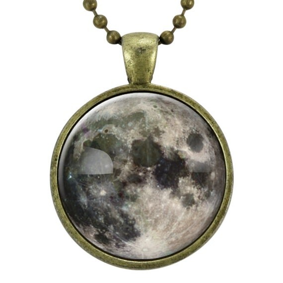 Full Moon Necklace, Space Art Pendant, Galaxy Jewelry (0439B25MMBC)