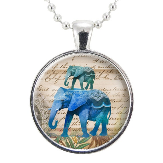 Blue Elephant Necklace, Gift Ideas For Women, Lucky Jewelry (1060S25MMBC)