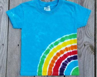 Kids Side Rainbow Tie Dye T-Shirt ,  Available Sizes XS S M L XL, Tie Dye Shirt, Hippie Kids