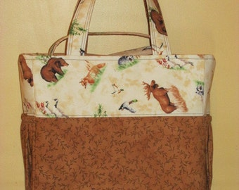 Handmade Wilderness Animal Print Diaper Bag