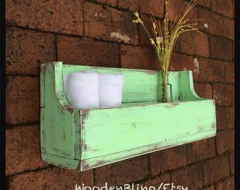 Shelf, Bathroom Shelf, Reclaimed Wood, Nursery, Bookshelf, Boys, Girls, Kids Room, Room Decor, Distressed Green, Personalized, Flower Box