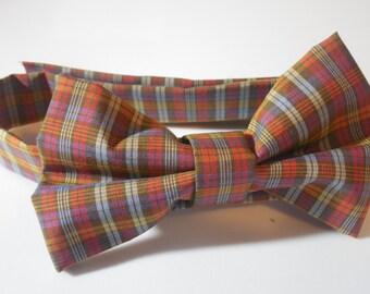 Fall Plaid Adjustable Bow Tie