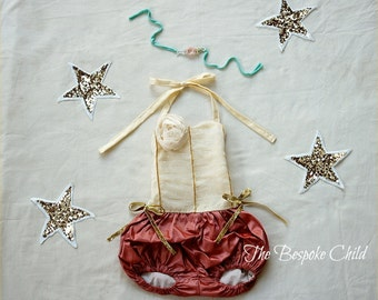 Outback Circus Romper Costume Tutu Playsuit CREAM with gold and WATERMELON SILK Cake Smash, Prop or party